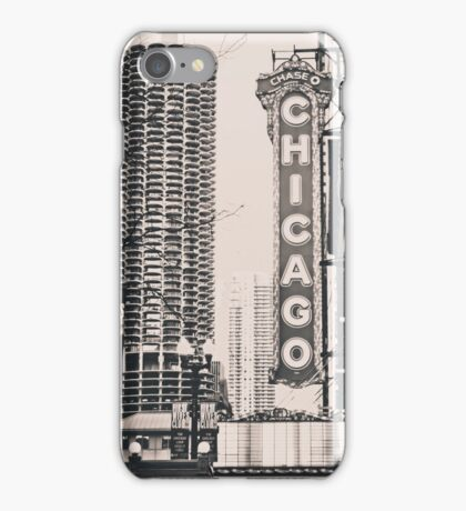 Theatre Sign in Chicago Black and White iPhone Case/Skin