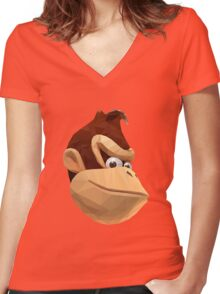 Donkey Kong - Triangulation Vector Women's Fitted V-Neck T-Shirt