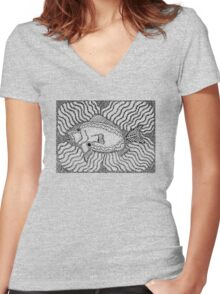 Aarl - fish / Back in black Women's Fitted V-Neck T-Shirt