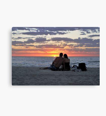 Romantic Couple At The Beach Canvas Print