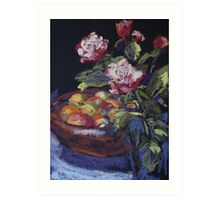 Redgum fruit bowl & roses Art Print