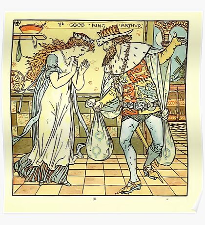 The Baby's Opera - A Book of Old Rhymes With New Dresses - by Walter Crane - 1900-37 Ye Good King Arthur Plate Poster