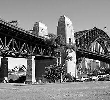 Sydney Harbour Bridge, Australia (B&W) by Jonathan Jones