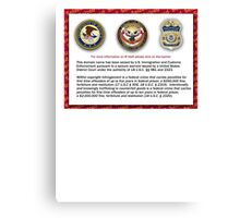 Domain seized by the US Department of Justice Canvas Print