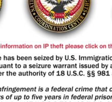 Domain seized by the US Department of Justice Sticker