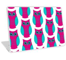 Fuchsia and Aqua Owl Laptop Skin