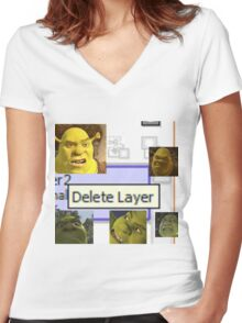 Delete Layer Women's Fitted V-Neck T-Shirt