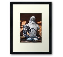 Manatee mom and baby statue Framed Print