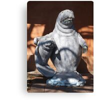 Manatee mom and baby statue Canvas Print