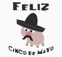 Feliz Cinco De Mayo Pig Kids Tee