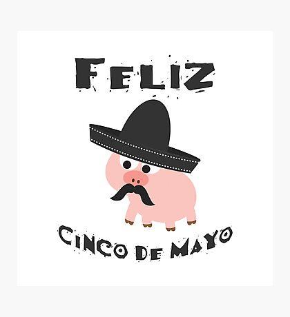 Feliz Cinco De Mayo Pig Photographic Print