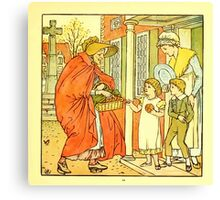 The Baby's Boquet - A Fresh Bunch of Old Rhymes and Tunes - by Walter Crane - 1900-15 Hot Cross Buns Plate Canvas Print