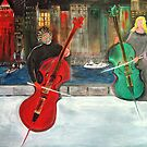 2 Cello Players /  Rooftop       (  My Paintings )  by fiat777
