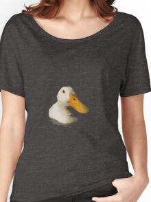 Close Up Portrait of A Cute Domestic White Duck Vector Style Women's Relaxed Fit T-Shirt