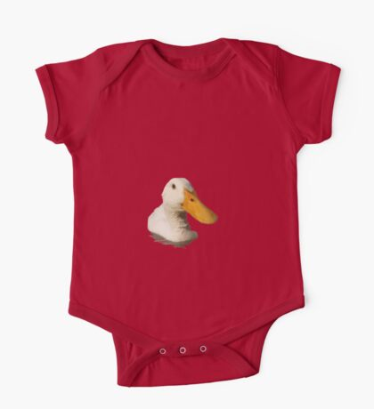 Close Up Portrait of A Cute Domestic White Duck Vector Style One Piece - Short Sleeve