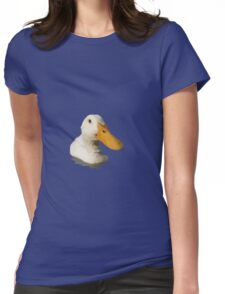 Close Up Portrait of A Cute Domestic White Duck Vector Style Womens Fitted T-Shirt