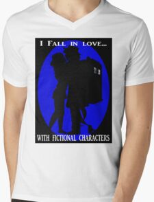 I fall in love with fictional characters- Dr Who Mens V-Neck T-Shirt