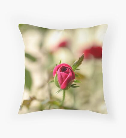 Red Rose Bud Throw Pillow