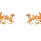 orange yellow flowers leaves by coralZ