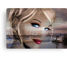 Blue Eyes Blue Sepia Canvas Print