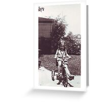 Betty on tricycle 2 Greeting Card