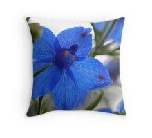 Blue Butterfly Delphinium Throw Pillow