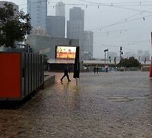A BLEAK DAY AT FEDERATION SQUARE IN MELBOURNE by kazaroodie
