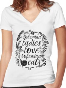 Bohemian Lady Women's Fitted V-Neck T-Shirt