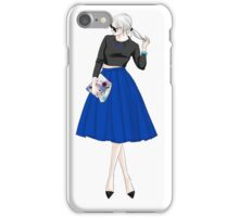 fashion illustration-woman in blue skirt iPhone Case/Skin