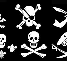 BLACK PIRATE BANNERS SKULL,CROSSED BONES,SWORDS by BulganLumini