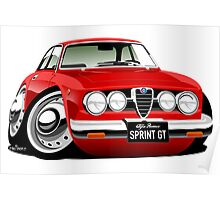 Alfa Romeo Sprint GTV caricature red Poster