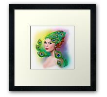 Beautiful Fashion spring woman face.Peacock  Framed Print