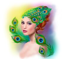 Beautiful Fashion spring woman face.Peacock  Photographic Print