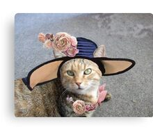 PRINCESS TATUS / ELEGANT CAT WITH DIVA HAT AND PINK ROSES  Canvas Print