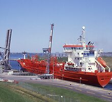 Ship Passing Through Locks On The St Lawrence Seaway, Ontario, Canada. by Peter Stephenson