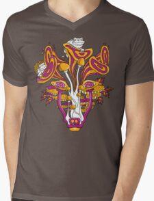 Psychedelic Mushroom Wolf Mens V-Neck T-Shirt