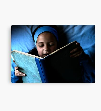 Bookworm in blue Canvas Print
