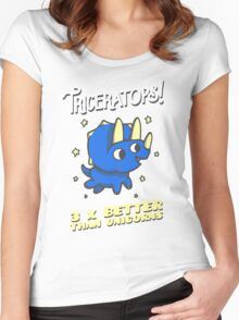 Triceratops 3 Times Better Than Unicorns Women's Fitted Scoop T-Shirt