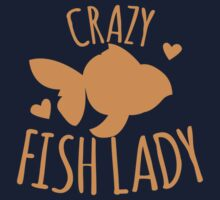 Crazy Fish lady with cute little goldfish One Piece - Short Sleeve