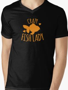 Crazy Fish lady with cute little goldfish Mens V-Neck T-Shirt