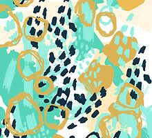 Silas - abstract print in mint, green, mustard navy by charlottewinter