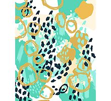 Silas - abstract print in mint, green, mustard navy Photographic Print