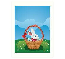 Easter Bunny with Eggs in the Basket 3 Art Print