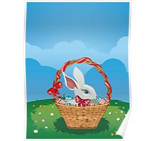Easter Bunny with Eggs in the Basket 3 Poster