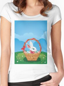 Easter Bunny with Eggs in the Basket 3 Women's Fitted Scoop T-Shirt