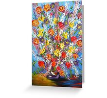 Spring has Sprung, abstract floral bouquet, daffodils, spring flowers Greeting Card