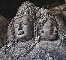 The Trimurti-Sadasiva Statue. Elephanta Caves. by vadim19