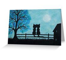 Romantic Cats Silhouettes with Blue Tree and Moon Greeting Card