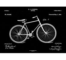 Patent: O Connor, Bicycle - White Ink Photographic Print