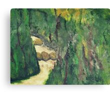 Green landscape with running water Canvas Print